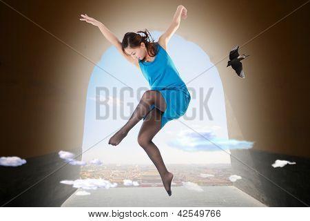 A Woman Dancer Is Dancing In The Sky.