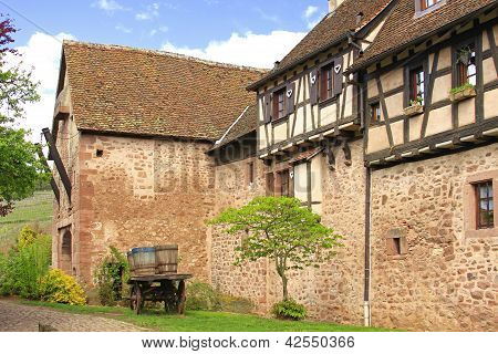 Medieval City Walls Of Riquewihr, France
