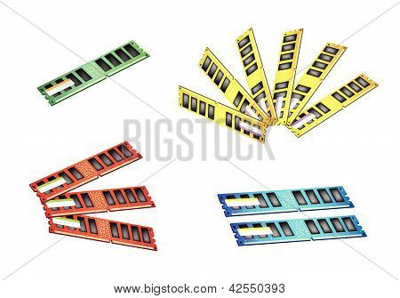 Colorful Illustration Set Of Computer Ram Icon