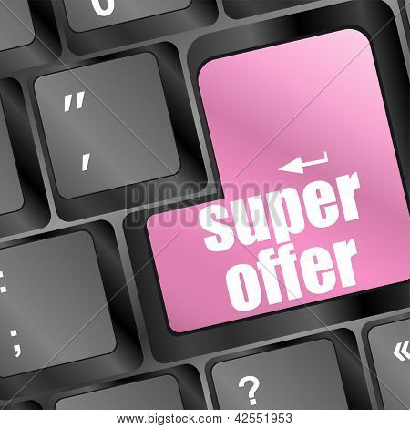 Super Offer Text On Laptop Computer Keyboard