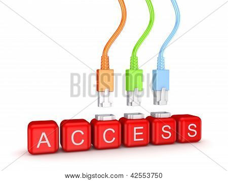 Colorful patchcords and word Access.