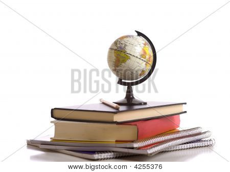 School Books, Globe And Pencil On White