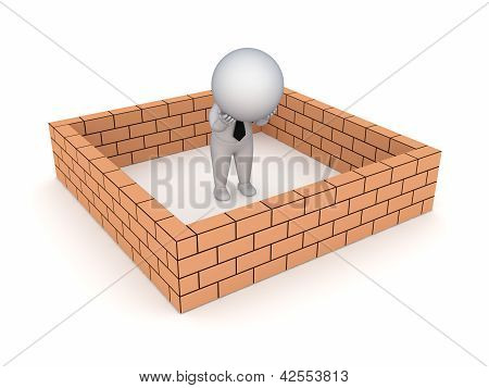 3d small person behind brick wall.