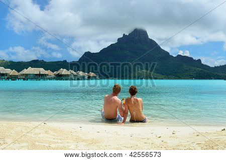 Romantic Honeymoon Couple On Bora Bora