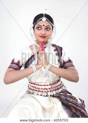 Indian Traditional Female Bharathanatyam Dancer