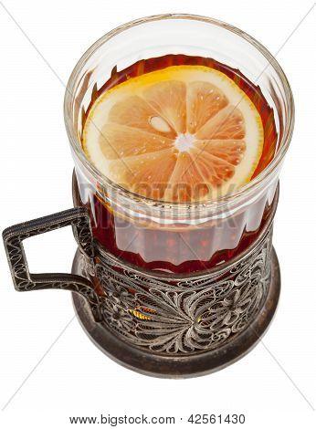 Black Tea With Lemon In Vintage Glass