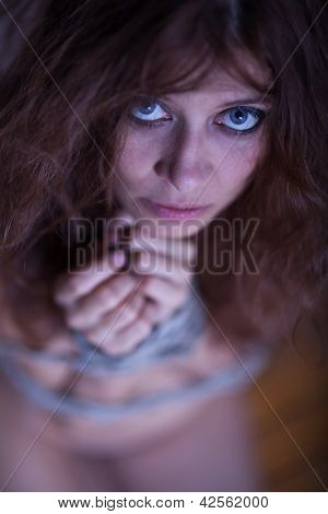 beauty redhaired woman bondage rope