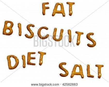 Fat, Biscuits, Diet, Salt - Lifestyle Words Isolated Biscuits Over White