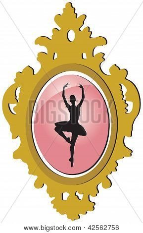Old Golden Brooch With Ballerina Silhouette