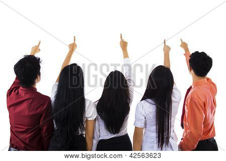 Business People Pointing At Something