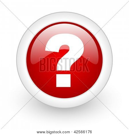 question mark red circle glossy web icon on white background
