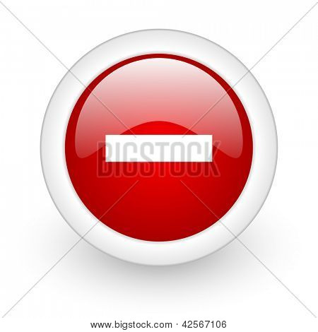 minus red circle glossy web icon on white background