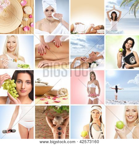 Beautiful spa and health collage made of many elements