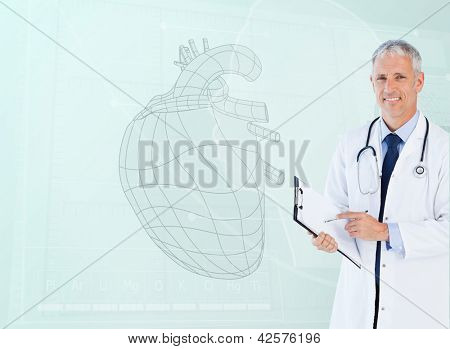 Portrait of a standing cardiologist smiling with a heart sketch