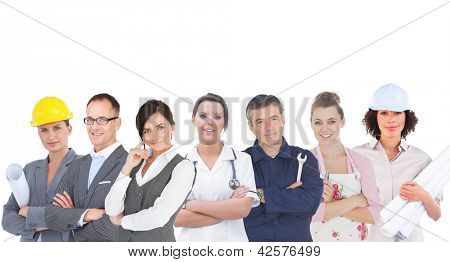 Various workers of industry on white background