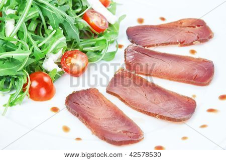 The Composition Of The Slices Of Smoked Tuna.