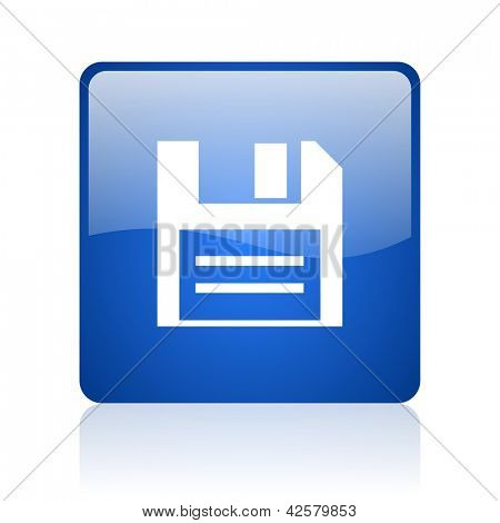 disk blue square glossy web icon on white background
