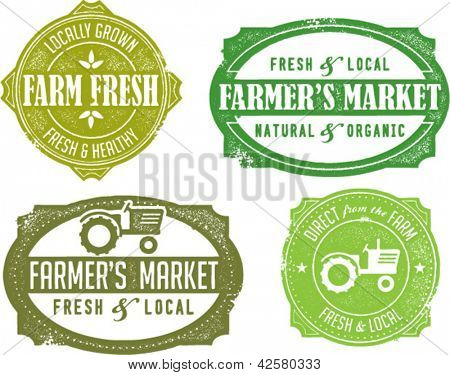 Vintage Style Farmer's Market Stamps