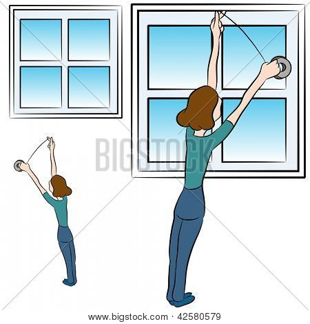 An image of a woman putting weather proofing foam tape in a window.
