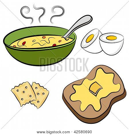 An image of a bowl of soup, hardboiled egg, crackers and toast lunch food.