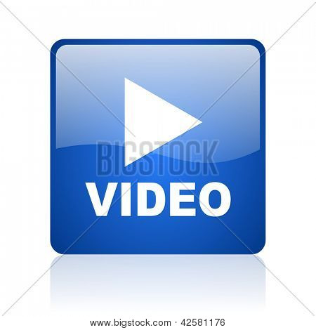 video blue square glossy web icon on white background