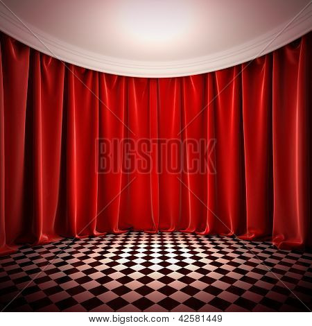 Empty hall with red curtains. A 3d illustration of empty stage in victorian style.