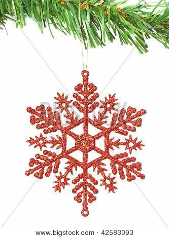 Christmas Decoration Snowflake On The Tree. On A White Background.