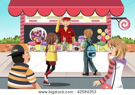Niños comprar dulces