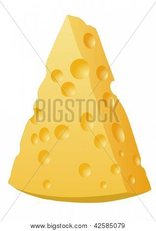 Piece of Cheese isolated on a white - Vector Illustration
