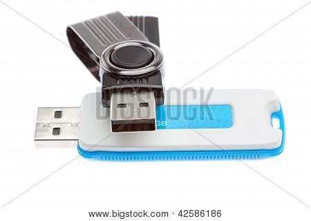 Flash Drives For Data Storage. On A White Background.