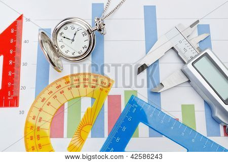 Concept Chart Songs Pocket Watches, Rulers And Vernier Calipers.