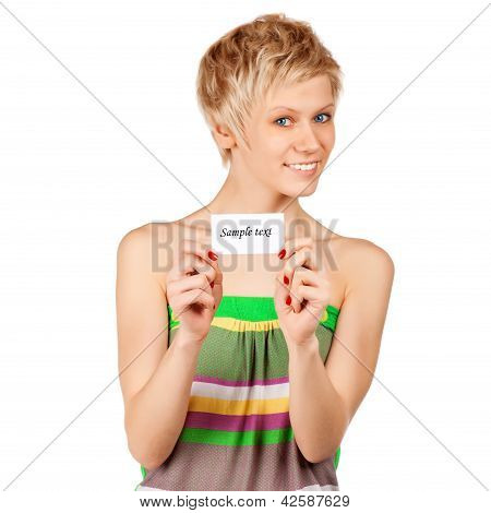 Excited Woman Showing Empty Blank Paper Card Sign With Copy Space For Text.