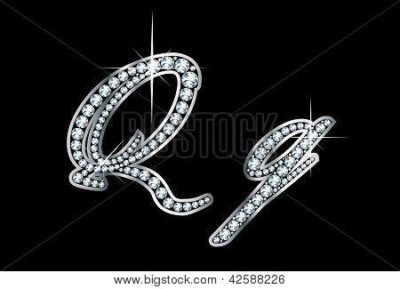 Script Diamond Bling Qq Letters