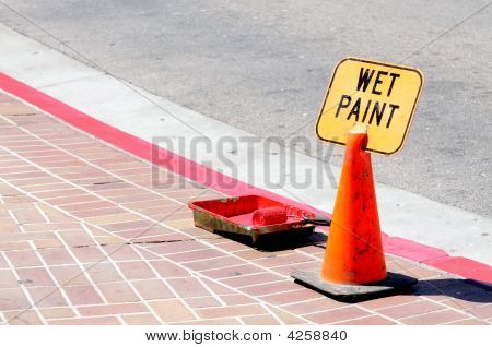 Traffic Cone And Wet Paint
