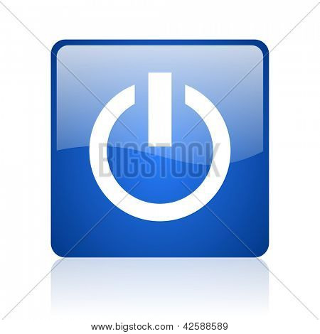 power blue square glossy web icon on white background