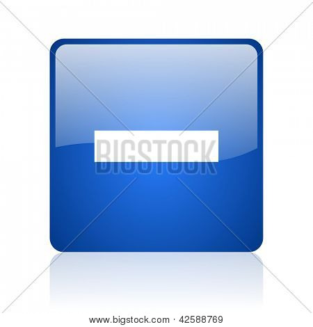 minus blue square glossy web icon on white background