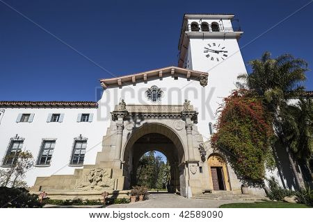 Historic Santa Barbara county courthouse in sunny southern California.