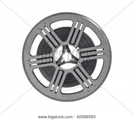 Vintage Super 8 film reel isolated on white with clipping path.