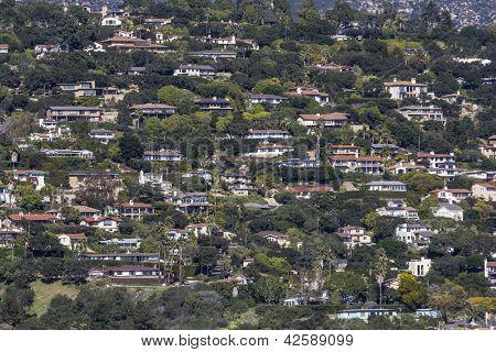 Affluent ocean view hillside homes in Santa Barbara, California.