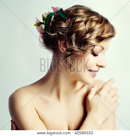 Beauty Woman Portrait, Hairstyle With Flowers