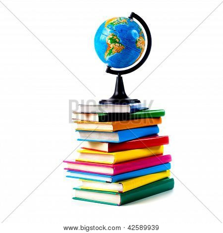 Globe On Books Isolated Over White Background