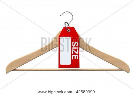 Coat Hanger With Size Tag