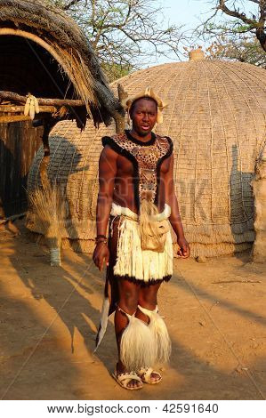 Zulu warrior at the Great Kraal in Shakaland Zulu Village, South Africa