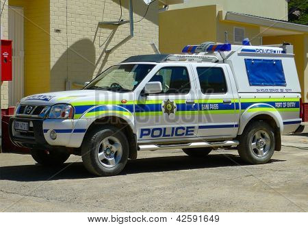 South African Police Car At Sani Pass Border Control Between South Africa And Lesotho