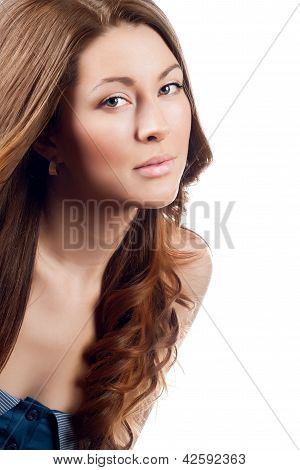 Young Brown Hair Woman Beauty Portrait , Studio Shot