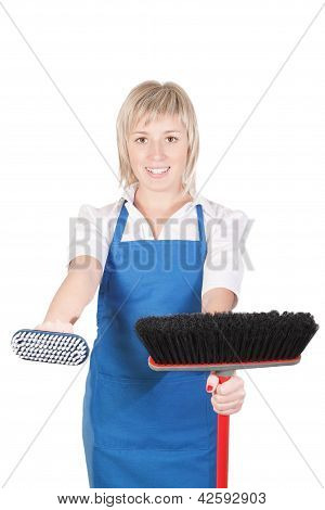 Pleasant Girl Getting Ready For Cleaning.