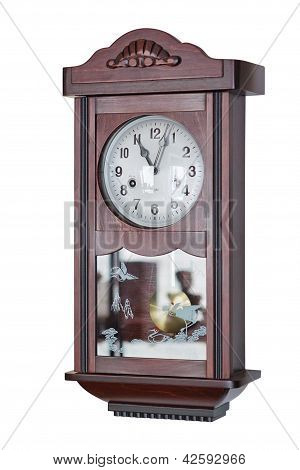 The Old Wooden Clock Chimes. On A White Background.