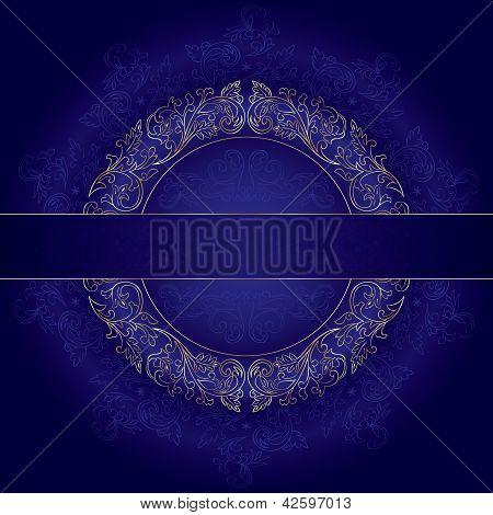 Floral Gold Frame With Vintage Patterns On Violet Background