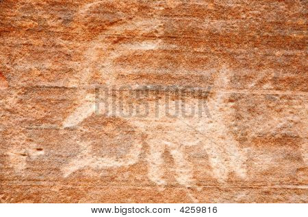 Native American Petroglyph On Canyon Wall