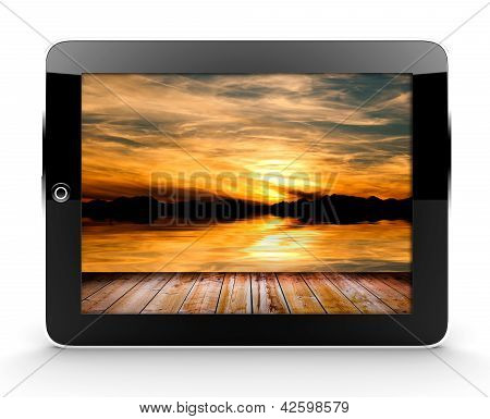 Tablet With Sunset